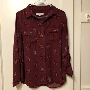 LOFT Women's Button Up Collared Blouse